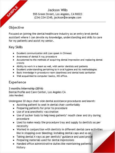 Resume Sample For Dental Assistant - www.buzznow.tk