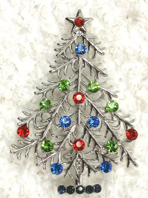 RHINESTONE CRYSTAL christmas tree pin brooch
