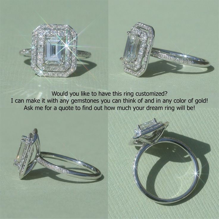 Emerald Cut Diamond Engagement Ring with double halo and Filigree Det…