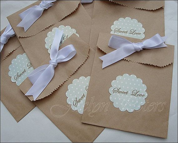 Wedding Favor Bags With Ribbon : Kraft Favor Bags Mint Green Sweet Love Tag, Ribbon Bow, Wedding Favors ...