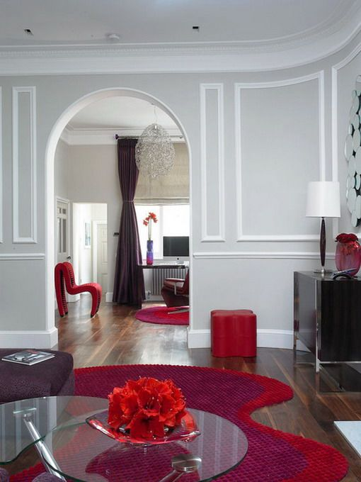 Modern Red Rugs In Small Living Room Homes And Rooms Pinterest