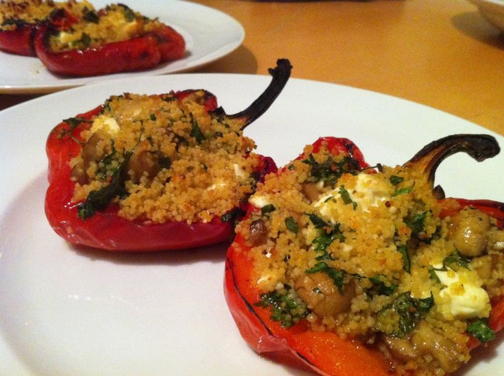 Stuffed Peppers, Cous Cous, Mushrooms and Feta #paprika #pepper ...