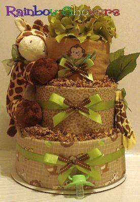 Wild Animal Safari Diaper Cake