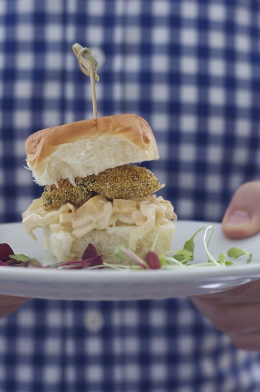 Oyster Sliders with Spicy Slaw |