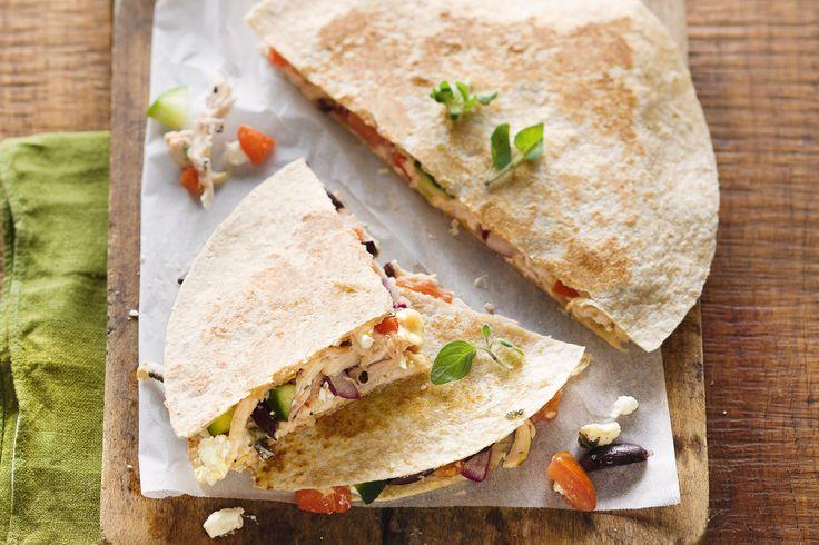 Greek chicken quesadillas #healthy http://www.taste.com.au/recipes ...