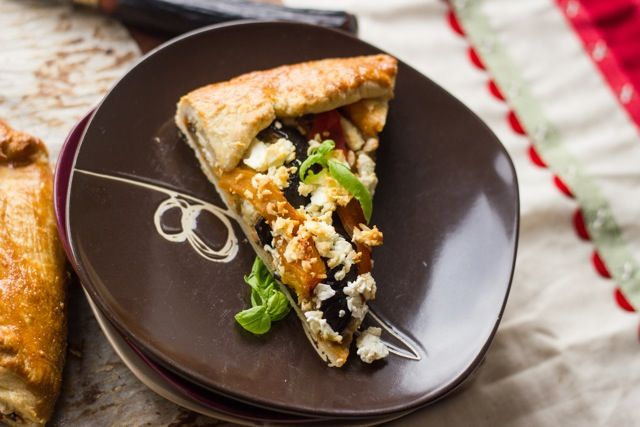 Eggplant, Red and Yellow Pepper and Feta Galette