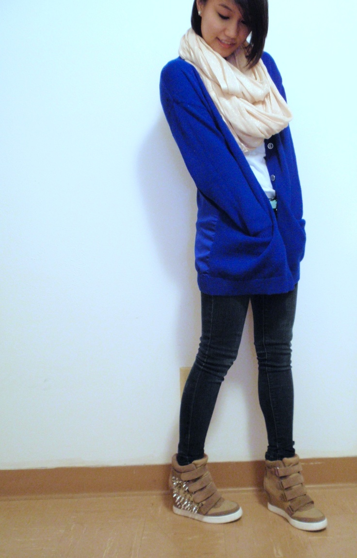 Scarf - Express Cardigan - H and M Shoes - Aldo