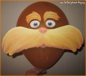 FREE Printable Lorax Template.  Could glue eyes and brows on headband and mustache on stick
