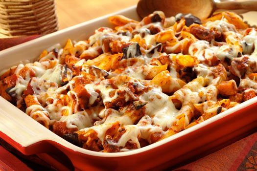 Baked Penne with Eggplant, Tomatoes, Olives and Cheese