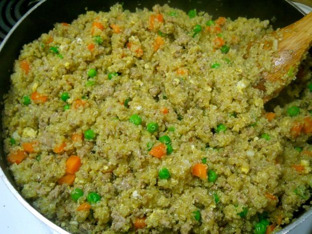 Turkey Fried Quinoa - uses ground turkey and quinoa instead of chicken and rice