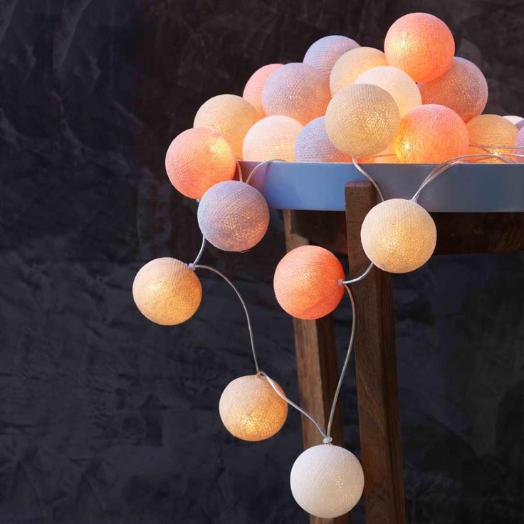 Salmon Cotton Ball String Lights Light Pinterest