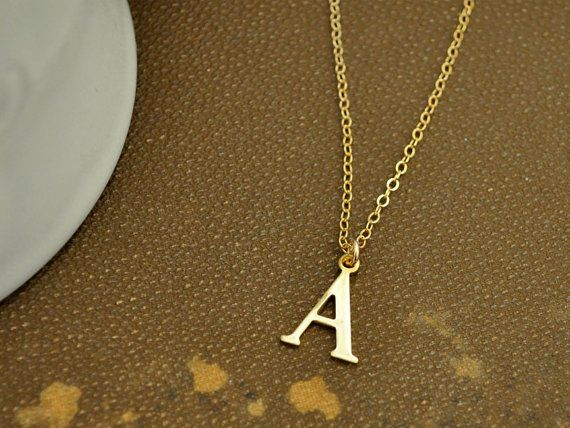 Tiny initial necklace vintage brushed brass letter charm necklace on