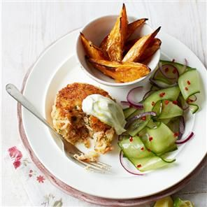 Hot-smoked salmon burgers with wasabi mayo and cucumber salad