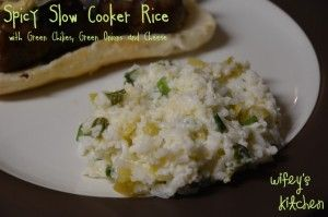 Spicy Slow Cooker Rice with Green Chiles, Green Onions, and Cheese ...