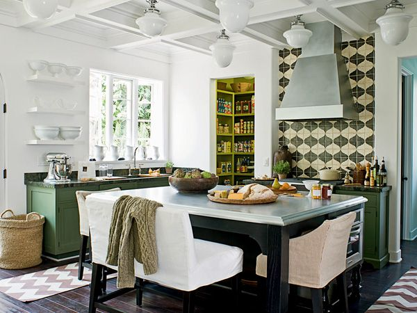 quirky cottage kitchen.  schoolhouse pendants + green lowers + tile pattern + double bench | Jackie Terrell