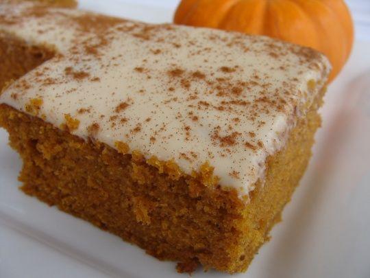 Frosted Pumpkin Bars, Paula Deen recipe. I use whole-wheat flour, sub ...