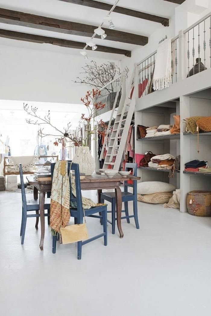 A High Concept Store in Amsterdam : Remodelista.  Love the colors: blue chair with yellow throw....