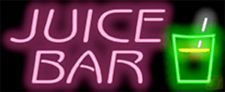 """NEON SIGN JUICE BAR 32"""" WIDE X 13"""" HIGH PINK LETTERS WITH GREEN GLA..."""