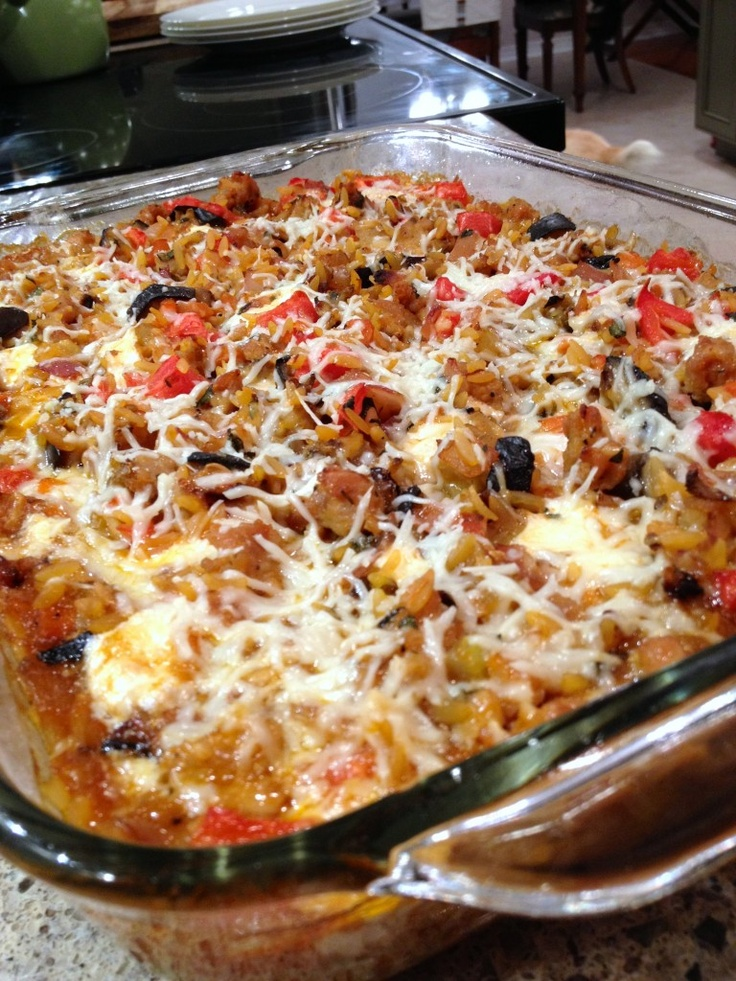 Baked Orzo with Eggplant, Sausage and Mozzarella