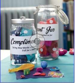 Colorful Compliment Jar: Turn an ordinary jar into a great incentive for students to be good classroom citizens. From Scholastic Instructor Magazine.