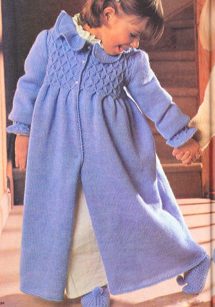 Knitting Pattern Dressing Gown : Litttle Girls Cosy Smocked Dressing Gown & Slippers ...