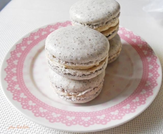 Black sesame macarons with orange liqueur whipped cream