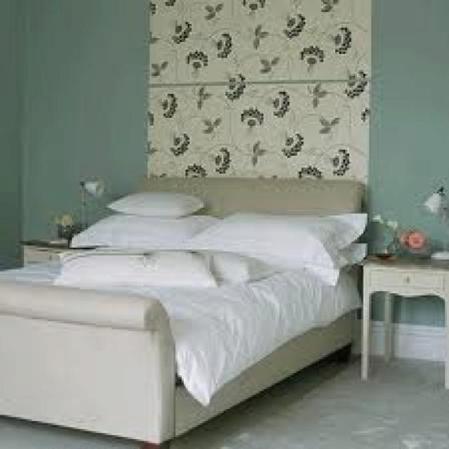 Wallpaper strip behind bed bedroom pinterest for Wallpaper for wall behind bed
