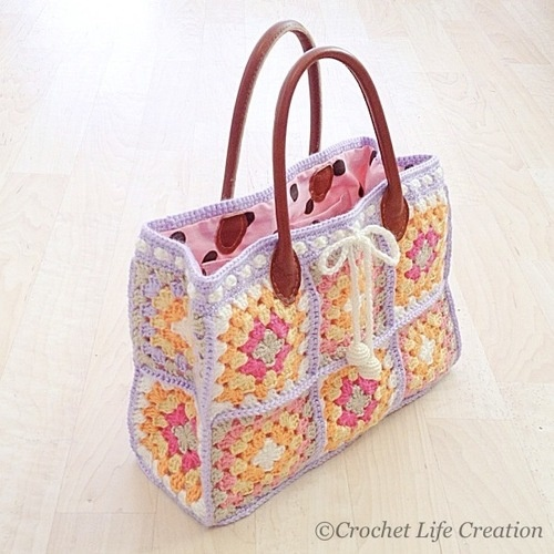 Granny Square Tote Bag knitting and crochet Pinterest