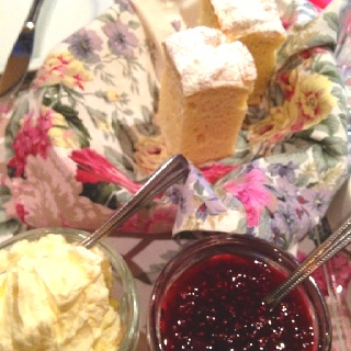 Scones with fresh cream & homemade raspberry jam @ Miss Marple's Tea ...