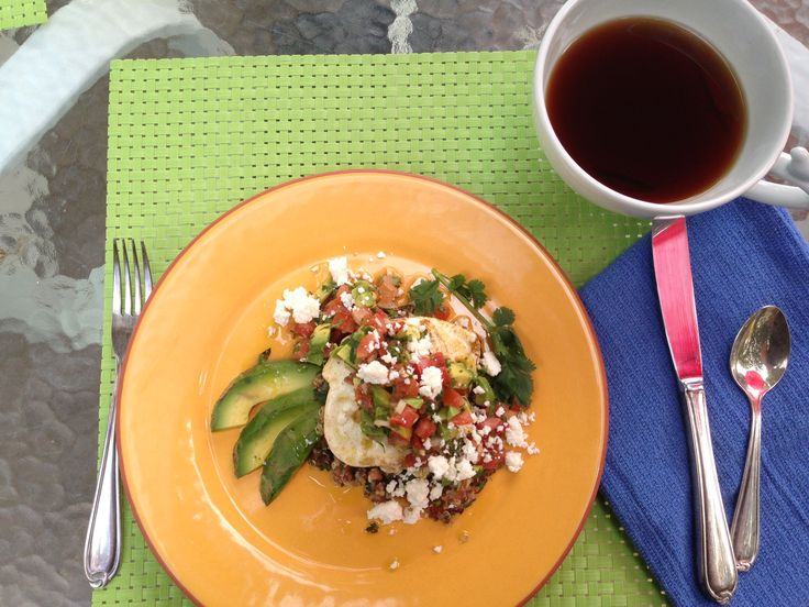 Quinoa and black beans with avocado pico de gallo and a perfectly ...
