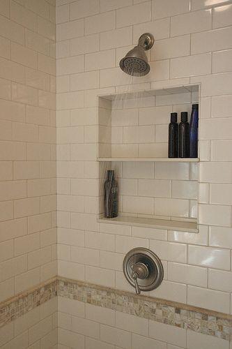 Built in shelf in shower | The Latrine | Pinterest