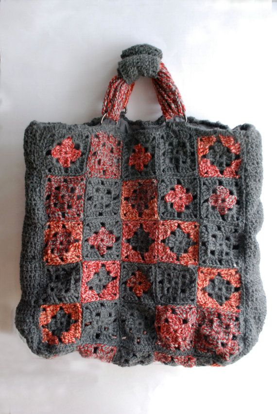 Crochet Granny Square Purse : Crochet granny square tote bag gray, red