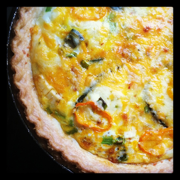 Jalapeno popper, chorizo and corn quiche.