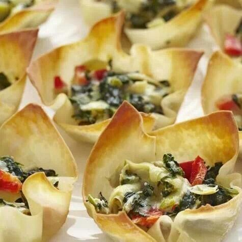 Warm spinach and artichoke cups | Foods and Desert | Pinterest