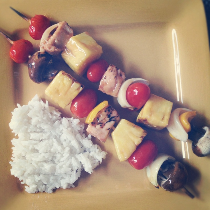 Coconut rice and kabobs (pineapple, mushrooms, chicken, onion ...