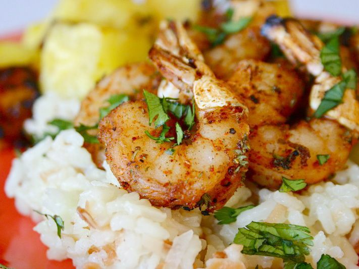 Spicy Shrimp with Grilled Pineapple & Coconut Rice Pilaf
