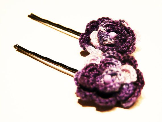 Crochet Hair Using Bobby Pin : Crocheted bobby pin Eggplant charming hair pin by myRainbowWorld, $9 ...