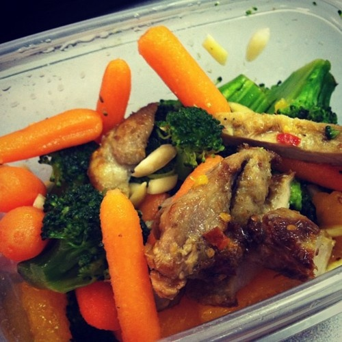 Asian chicken salad. Broccoli, carrots, almonds, mandarin oranges, and ...