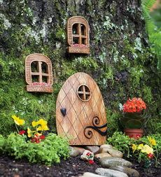 Hang this tiny Elf Door and Windows on a tree. this is so cute, and I always wanted them to be real so..