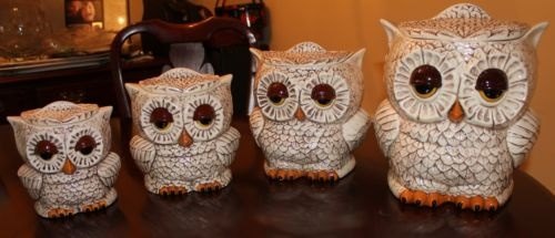 vintage two sided ceramic owl canisters set of 4