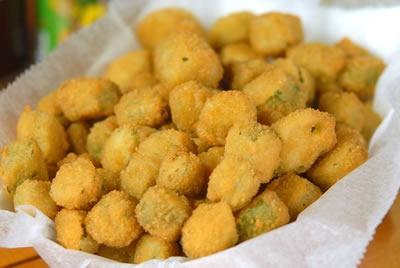 Fried okra...mmm | Recipes: Veggies side dishes! | Pinterest