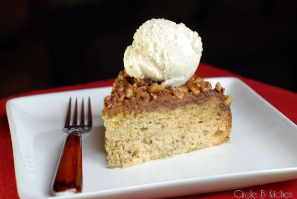 Carmel Walnut Upside-Down Rum Banana Cake - I'll use toasted Pecans