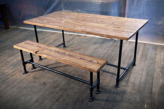 6ft Industrial style Farmhouse Table Set Bench Included