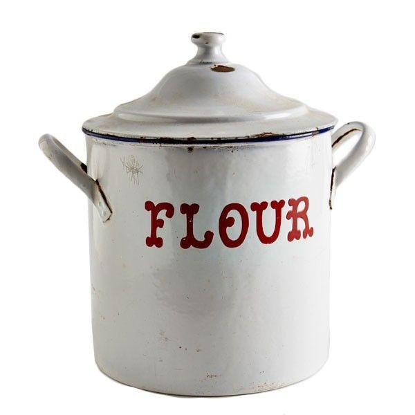 Vintage Enamel Flour Container - Red | VINTAGE | Pinterest