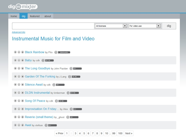 Dig CC Mixter (instrumental music for media projects: - http://dig.ccmixter.org/music_for_film_and_video?offset=0