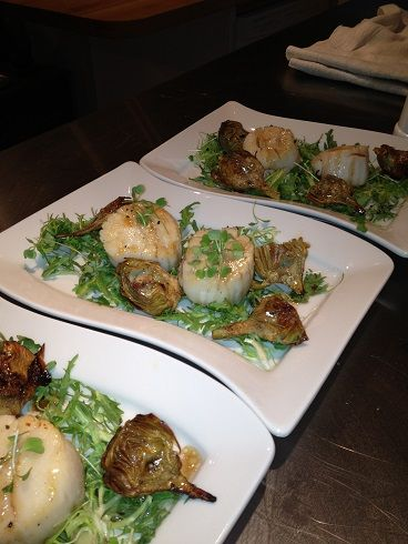 Sauteed sea scallops with crispy baby artichokes and truffled balsamic ...