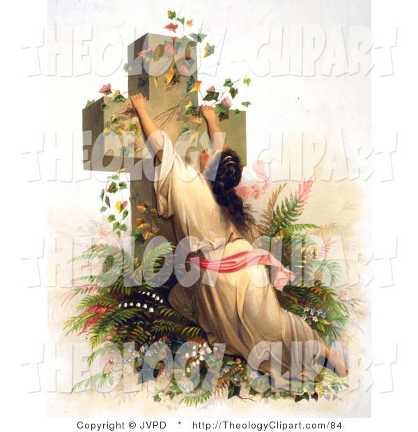 ... | Clip Art of a Christian Woman Draped on a Cross Covered with Vines