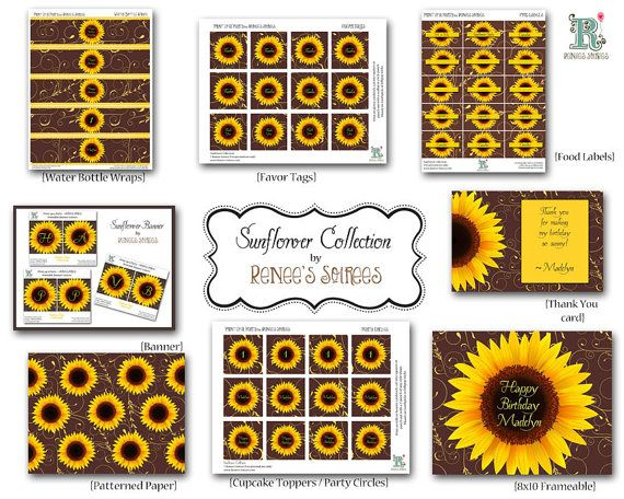 sunflower bridal baby shower or birthday collection printable diy