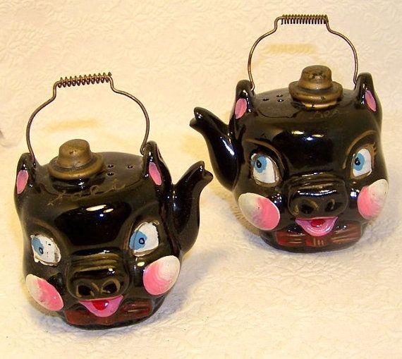 Oh So Adorable Vintage Tea Set : Vintage Set of adorable JAPAN Black Pig Tea Pot Shaped Red by ...