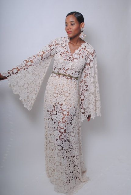 Vintage inspired ivory white lace crochet sheer bell for Lace maxi wedding dress